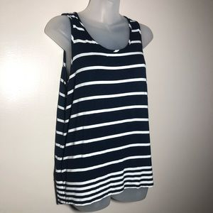 Large OLIVE+OAK Navy Blue White Striped High Low T
